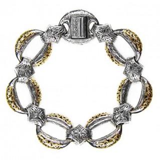 Gerochristo 6268-6181 ~ Solid 18K Gold & Sterling Silver Medieval - Byzantine Bracelet