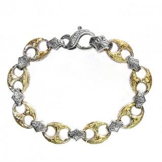 Gerochristo 6269 ~ Solid 18K Gold & Sterling Silver Medieval - Byzantine Bracelet
