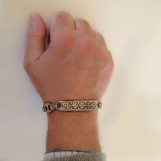Gerochristo 6270 ~ Solid Gold & Silver Medieval Byzantine Crosses Bracelet