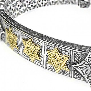 Gerochristo 6272 ~ Solid Gold & Silver - Star of David Engraved Bracelet