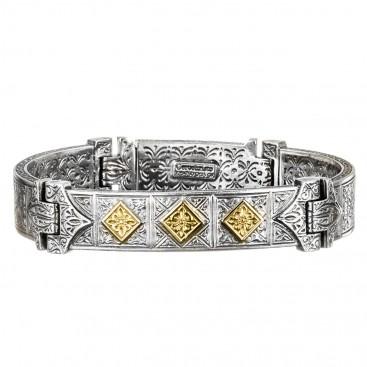 Gerochristo 6272B ~ Solid Gold & Silver - Medieval Byzantine Engraved Bracelet