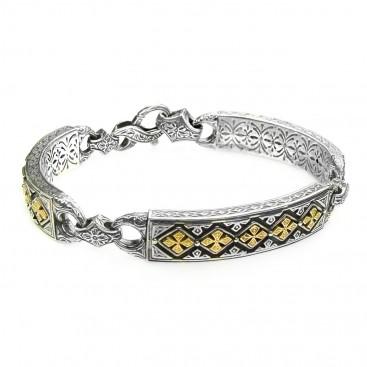 Gerochristo 6274 ~ Solid Gold & Silver Medieval Byzantine Crosses Bracelet