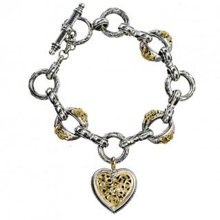 Gerochristo 6275 ~ Solid 18K Gold & Silver - Heart Charm Bracelet