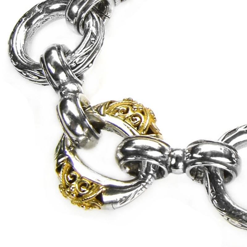 Gerochristo 6276 Solid 18k Gold Silver Link Charm Bracelet