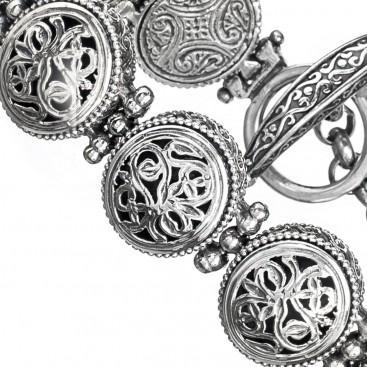 Gerochristo 6284N ~ Sterling Silver Medieval-Byzantine Filigree Bracelet