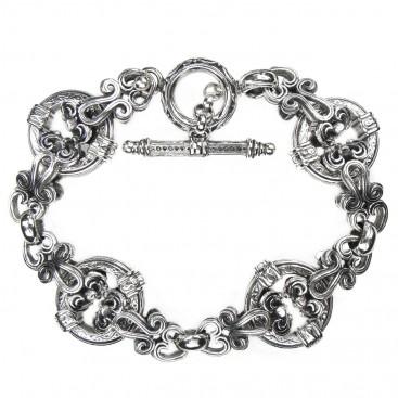 Gerochristo 6285 ~ Sterling Silver Medieval Byzantine Floral Link Bracelet