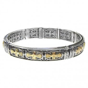 Gerochristo 6287 ~ Solid 18K Gold & Sterling Silver Medieval Cross Bangle Bracelet