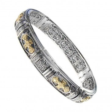 Gerochristo 6287 ~ Solid 18K Gold & Sterling Silver Medieval Cross Bangle Bracelet