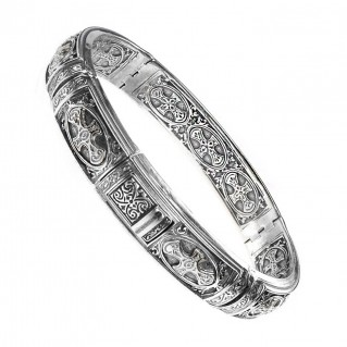 Gerochristo 6288 ~ Sterling Silver Medieval Cross Bangle Bracelet