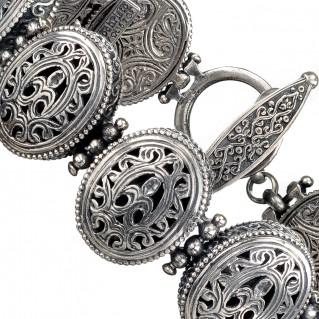 Gerochristo 6289N ~ Sterling Silver Medieval-Byzantine Filigree Bracelet