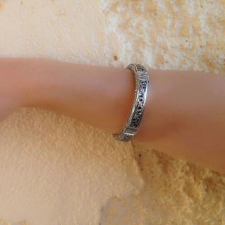 Gerochristo 6290 ~ Sterling Silver Medieval-Byzantine Bangle Bracelet