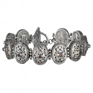 Gerochristo 6291N ~ Sterling Silver & Zircon Medieval-Byzantine Filigree Link Bracelet