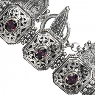 Gerochristo 6294N ~ Sterling Silver Medieval-Byzantine Filigree Link Bracelet