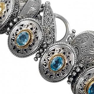 Gerochristo 6296N ~ Solid Gold & Sterling Silver Medieval-Byzantine Link Bracelet
