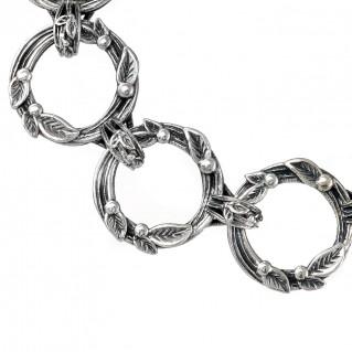 Gerochristo 6317N ~ Sterling Silver Link Bracelet with Leaves