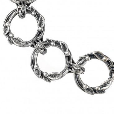 Gerochristo 6317N ~ Sterling Silver Link Bracelet with Leaves