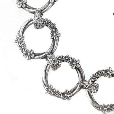 Gerochristo 6318N ~ Sterling Silver Medieval Floral Link Bracelet