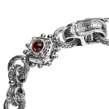 Gerochristo 6326 ~ Sterling Silver Medieval Byzantine Link Bracelet