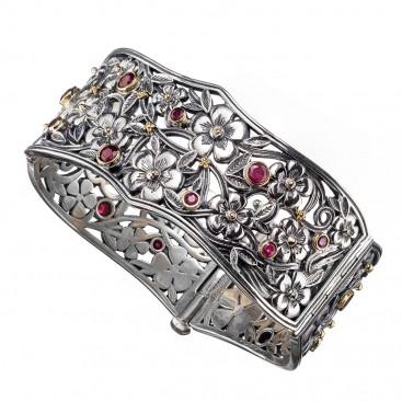Gerochristo 6328N ~ Solid Gold, Silver & Rubies Floral Bangle Bracelet