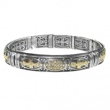 Gerochristo 6333 ~ Solid 18K Gold and Silver Medieval Cross Bangle Bracelet with Diamonds