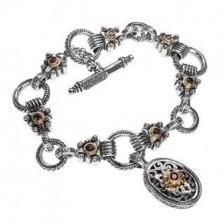 Gerochristo 6338 ~ Solid Gold & Sterling Silver - Filigree Charm Link Bracelet