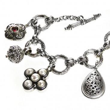 Gerochristo 6340 ~ Sterling Silver - Medieval Byzantine Charm Bracelet