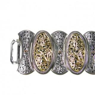 Gerochristo 6351 ~ Solid Gold & Silver Medieval-Byzantine Large Bracelet