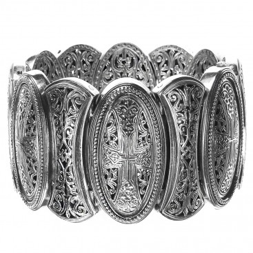 Gerochristo 6352 ~ Sterling Silver Medieval-Byzantine Large Bracelet with Crosses