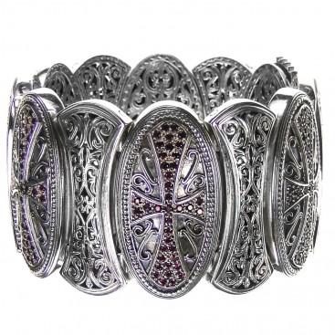 Gerochristo 6353 ~ Silver & Zircon Medieval-Byzantine Large Bracelet with Crosses