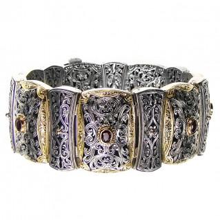 Gerochristo 6354 ~ Gold, Silver & Rubies Medieval Byzantine Large Bracelet