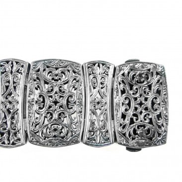 Gerochristo 6361 ~ Gold, Silver & Pearls Medieval-Byzantine Large Bracelet