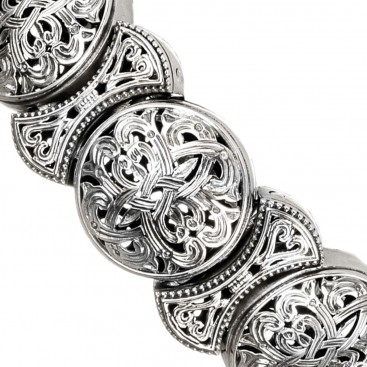 Gerochristo 6379 ~ Sterling Silver Medieval Byzantine Filigree Bracelet