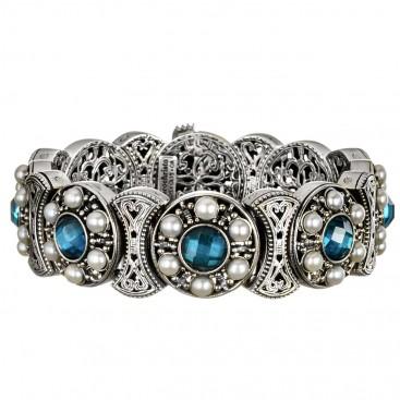 Gerochristo 6380 ~ Sterling Silver, Pearls & Zircon Medieval Byzantine Filigree Bracelet