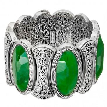 Gerochristo 6391 ~ Sterling Silver & Jade Medieval Byzantine Large Bracelet