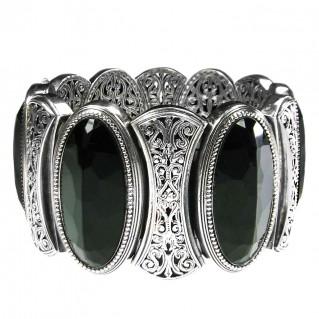 Gerochristo 6392 ~ Sterling Silver & Black Onyx Medieval Byzantine Large Bracelet