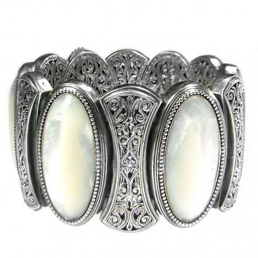Gerochristo 6393 ~ Sterling Silver & Mother of Pearl Medieval Byzantine Large Bracelet