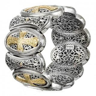 Gerochristo 6403 ~ Solid Gold & Silver Medieval-Byzantine Large Bracelet