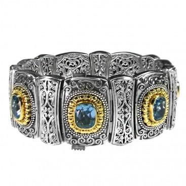 Gerochristo P6104N ~ Sterling Silve & Zircon Stones Medieval-Byzantine Bangle Bracelet