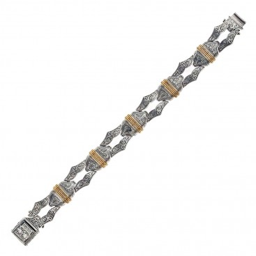 Gerochristo P6226N ~ Sterling Silver with Gold Accents Men's Link Bracelet - Minotaur Sharp