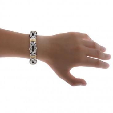 Gerochristo P6226N ~ Sterling Silver with Gold Accents Men's Link Bracelet - Minotaur Sharp