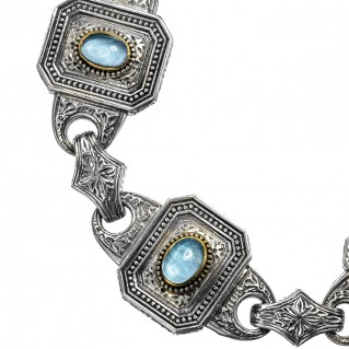 Gerochristo P6251N ~ Sterling Silver & Spinel Stones Medieval-Byzantine Link Bracelet