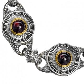 Gerochristo P6254N ~ Sterling Silver & Garnet Stones Medieval-Byzantine Link Bracelet
