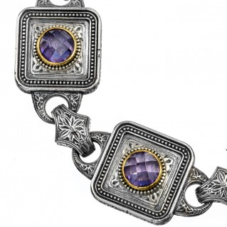 Gerochristo P6258N ~ Sterling Silver & Zircon Stones Medieval-Byzantine Link Bracelet