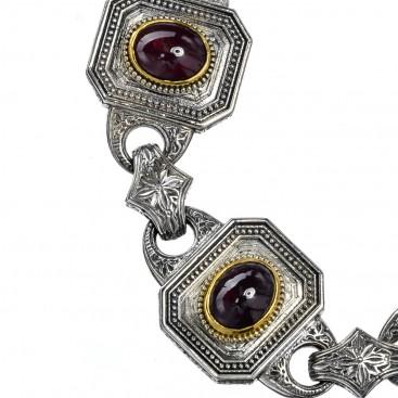 Gerochristo P6259N ~ Sterling Silver & Garnet Stones Medieval-Byzantine Link Bracelet