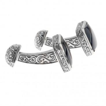 Gerochristo 7005 ~ Sterling Silver & Black Onyx Medieval-Byzantine Cufflinks