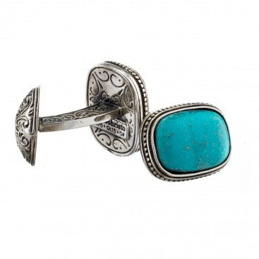Gerochristo 7008 ~ Sterling Silver Medieval-Byzantine Cufflinks with Stone