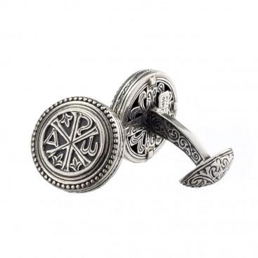 Gerochristo 7008N ~ Chi Rho-Chrismon ~ Sterling Silver Medieval Byzantine Cufflinks