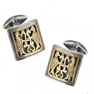 Gerochristo 7011 ~ Solid 18K Gold & Sterling Silver Medieval Byzantine Cufflinks