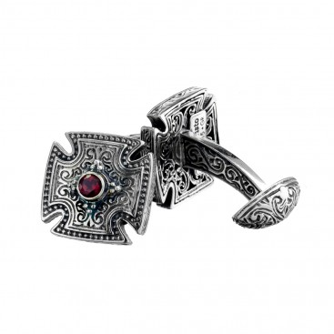 Gerochristo 7014N ~ Sterling Silver & Garnet Medieval Cross Cufflinks
