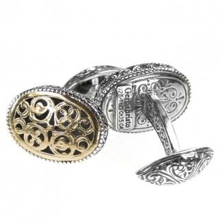 Gerochristo 7044~ Solid Gold & Silver Medieval Byzantine Filigree Cufflinks